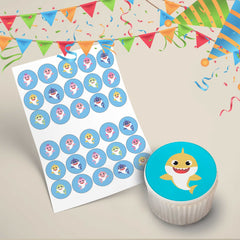 Baby Shark Edible Cupcake Toppers Printed Edible Icing