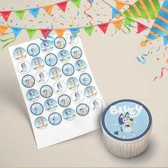 Bluey kids tv show edible cupcake topper images showing the full set of 30 cupcake toppers