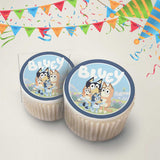 Bluey kids tv show edible cupcake topper images showing the whole family of cupcake toppers