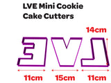Letters L V & E Cookie Fondant Cutters 9cm and 14cm