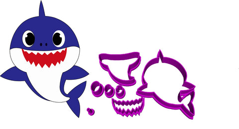 Baby Shark Doo Doo Cookie Fondant Cutter 5cm 7cm 10cm Set of 3 Sizes