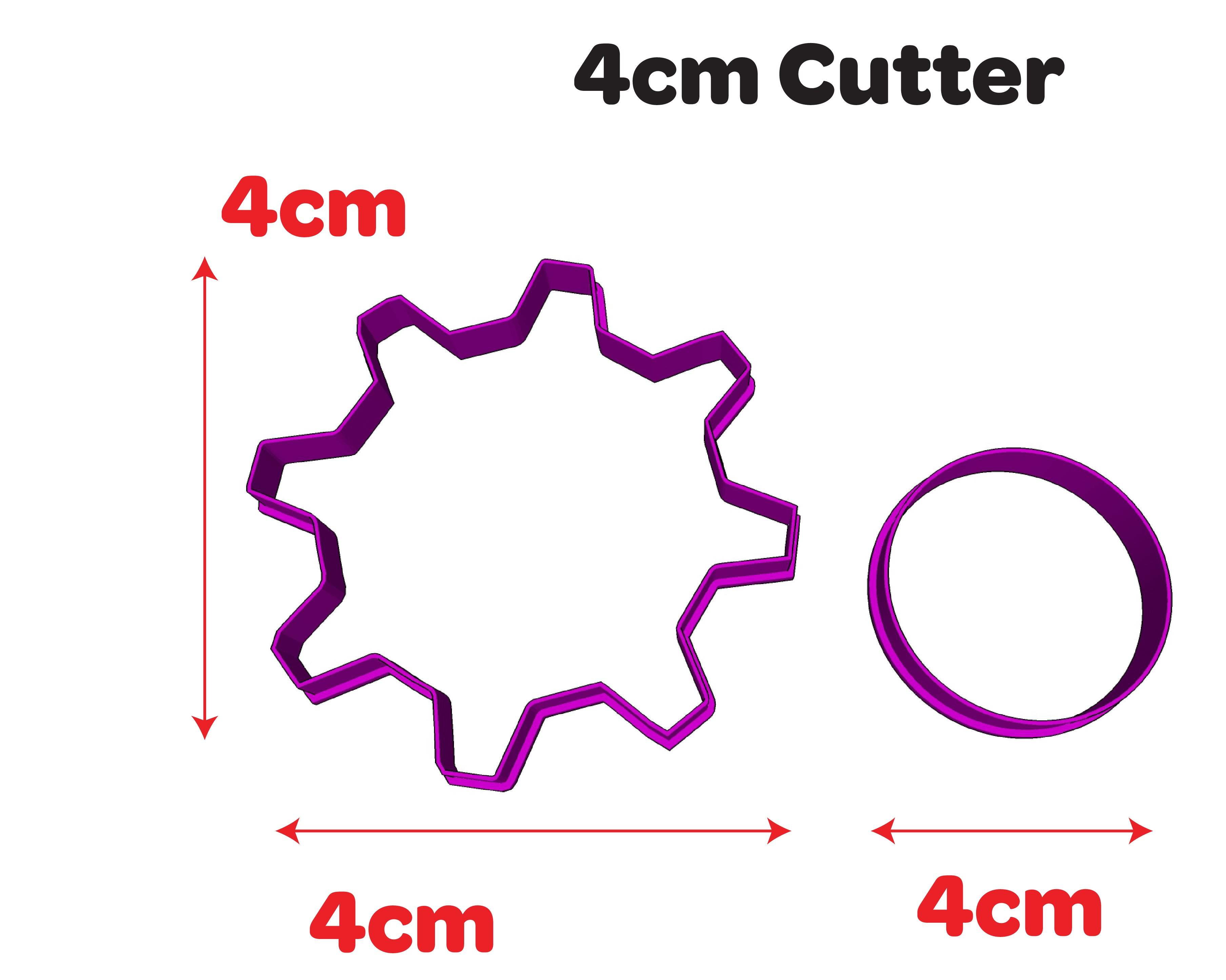 Cogs Gear Shape Cookie Cutter 4cm 5cm 7cm 10cm or Set for Kids Cake Decorating