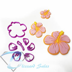 Hibiscus Flower Cookie Fondant Cutter 5cm 7cm 10cm Set Girl Birthday Cake Decorating
