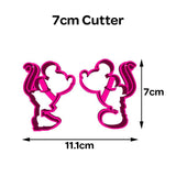 Mickey/Minnie Kiss Cookie Fondant Cutter 5cm 7cm 10cm Set Birthday Cake