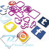 Social Media Logo Set of 7 Icons Fondant Cookie Cutter