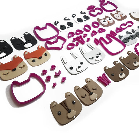 Cute Woodland Animal Set 33 Piece Cookie Fondant Cutter set - 5cm 7cm 10cm