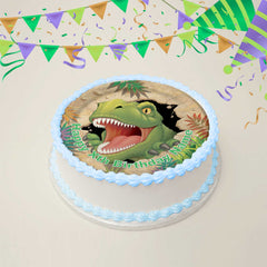 Dinosaur Edible Icing Cake Topper 20cm Round