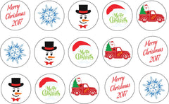 Christmas Themed Edible Icing Cookie Cupcake Toppers