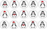 Christmas Themed Edible Icing Cookie Cupcake Toppers cute penguins