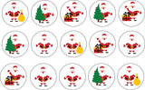 Christmas Themed Edible Icing Cookie Cupcake Toppers Santa