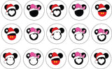 Christmas Themed Edible Icing Cookie Cupcake Toppers Mickey Mouse Minnie Mouse