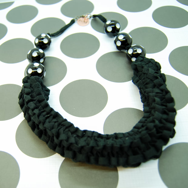 Black & white ribbon necklace