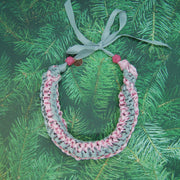 Grey & pink ribbon necklace
