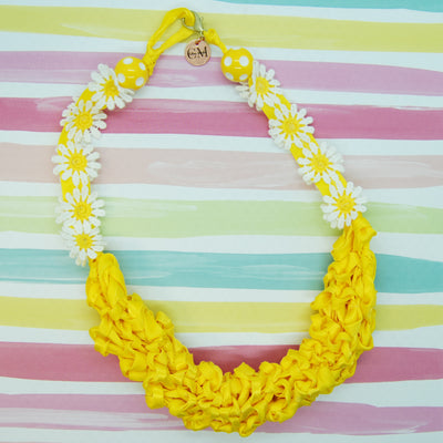 HANDMADE RIBBON NECKLACE YELLOW