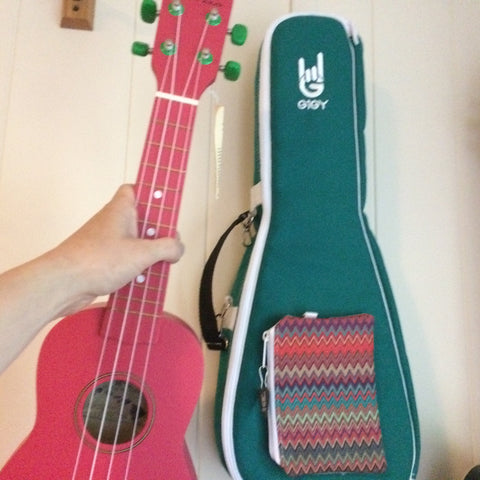 Watermelon Red Beginner Ukulele with Fun Pink, Purple, or Jade Green GiGY Gig Bag