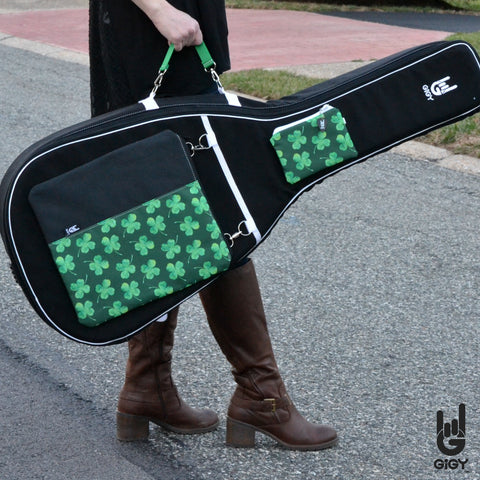 GiGY™ Bag Acoustic Guitar Case with Shamrocks Potes and Green Handle