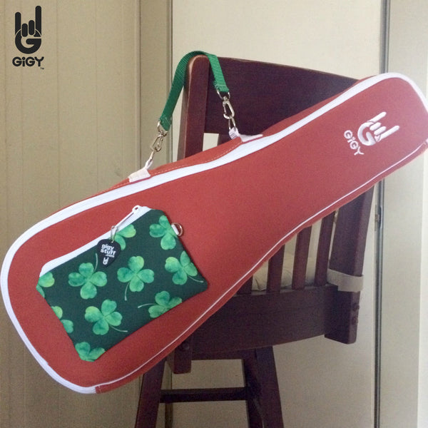 Terra Cotta GiGY™ Bag Ukulele Case with Shamrocks (Soprano, Concert, or Tenor)