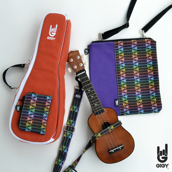GiGY Terra Cotta Orange Ukulele Gig Bag Case with Rainbow Safety Pins accessories_strap_music tote_