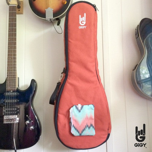 Tenor Ukulele Gig Bag Case_fun_customizable_terra cotta orange_chevron