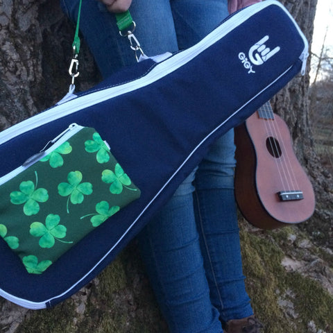 Navy GiGY™ Bag Ukulele Case with Shamrocks (Soprano, Concert, or Tenor)
