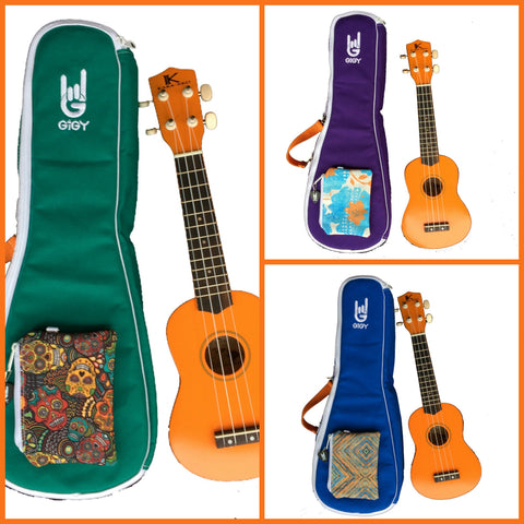 Beginner Ukulele Kit with gig bag: Orange Kaka'Ako Ukulele with customizable jade green purple or blue GiGY Case