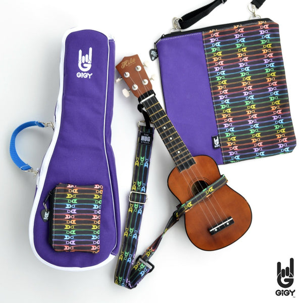 GiGY Purple Ukulele Gig Bag Case with Rainbow Safety Pins accessories_strap-music tote