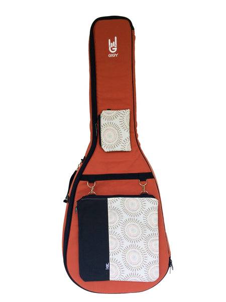 GiGY™ Bag Terra Cotta Acoustic Guitar Case with Boho Circles or Barcelona Potes