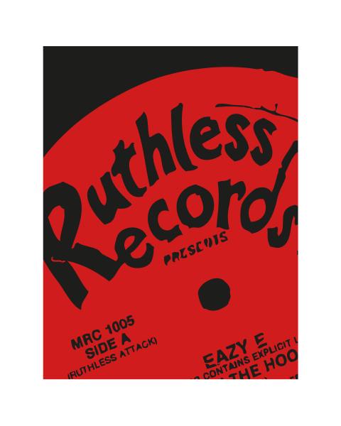 Close up of our Ruthless Records Boyz-n-the-hood artwork design