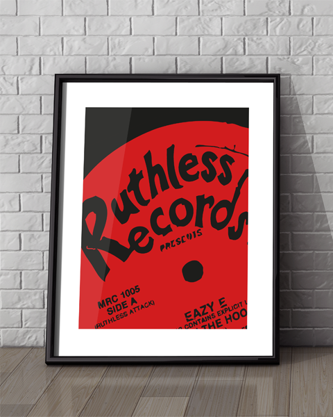 Framed example of our Ruthless Records Boyz-n-the-hood artwork design