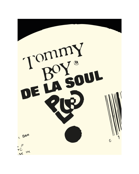 Close up of our Tommy Boy Modern, De La Soul artwork design