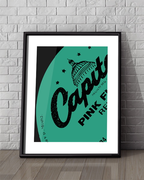Framed illustration of our Capitol Modern Pink Floyd Relics Vinyl Record Label Artwork