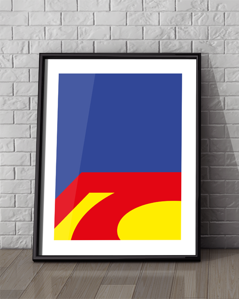 Framed example of our Superman Abstracted DC artwork design