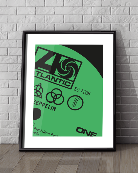 Framed illustration of our Atlantic Modern Led Zeppelin vinyl record label artwork