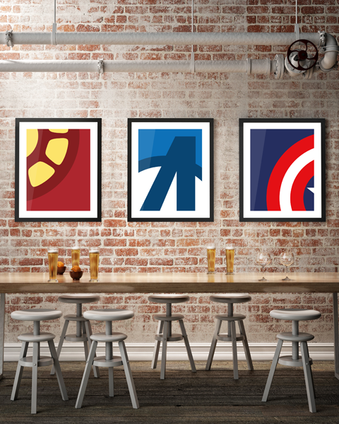 Framed triptych illustration of our Captain America Abstracted artwork, also featuring Iron Man Abstracted and Avengers Abstracted