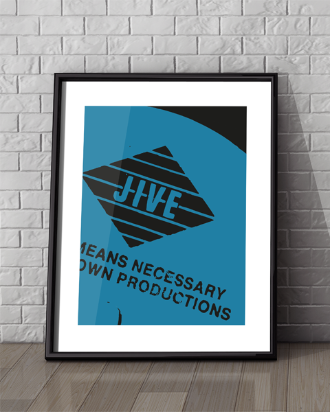 Framed example of our Jive Modern, Boogie Down Productions, By All Means Necessary artwork design