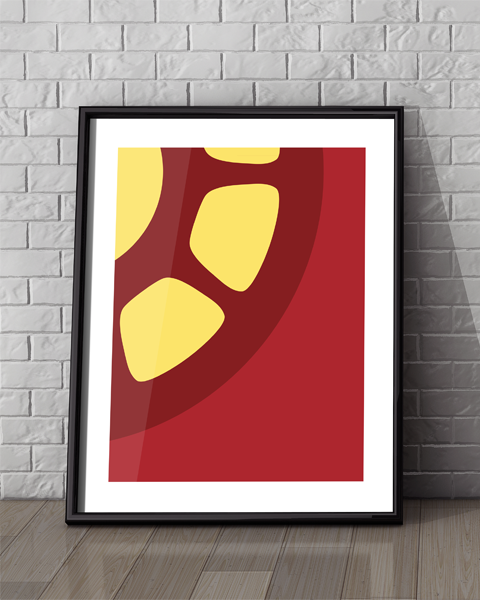 Framed illustration of our Iron Man Abstracted Marvel artwork design