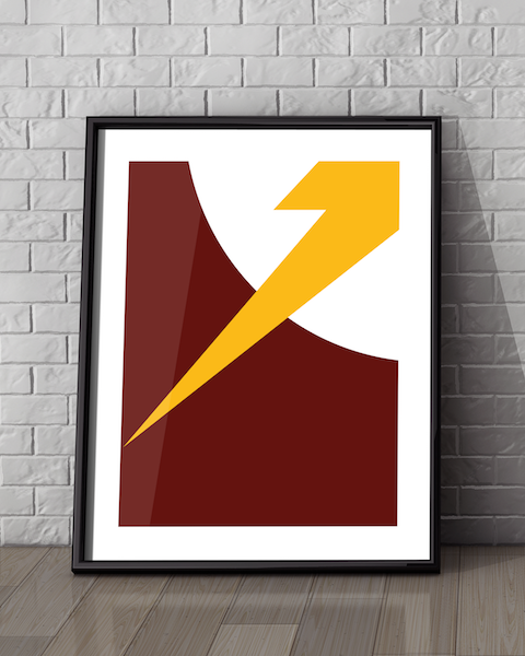 Framed example of our The Flash Abstracted DC artwork design
