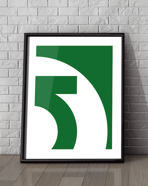Framed illustration of our Green Lantern Abstracted DC artwork design