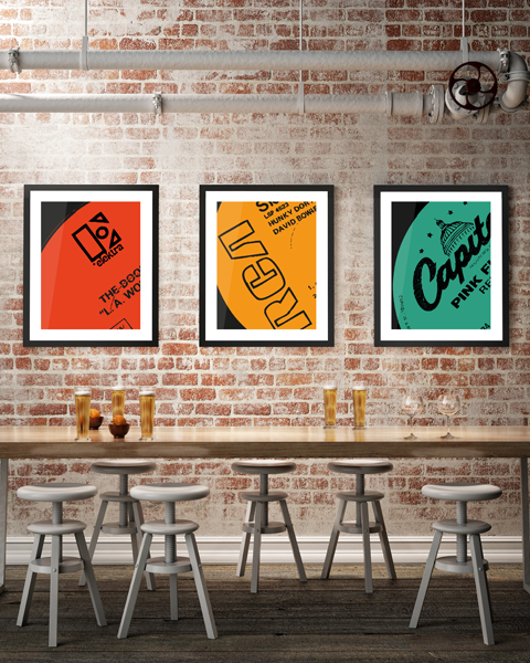 Triptych illustration of our Capitol Modern Pink Floyd Relics Vinyl Record Label Artwork