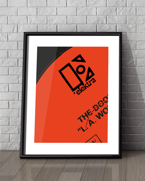 Framed example of our Elektra Modern artwork design featuring the Doors album L.A. Woman