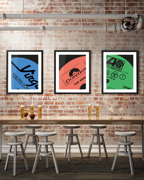 Framed triptych illustration of our Atlantic Modern Led Zeppelin vinyl record label artwork