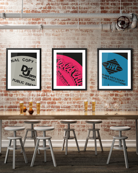 Framed triptych example of our Jive Modern, Boogie Down Productions, By All Means Necessary artwork design