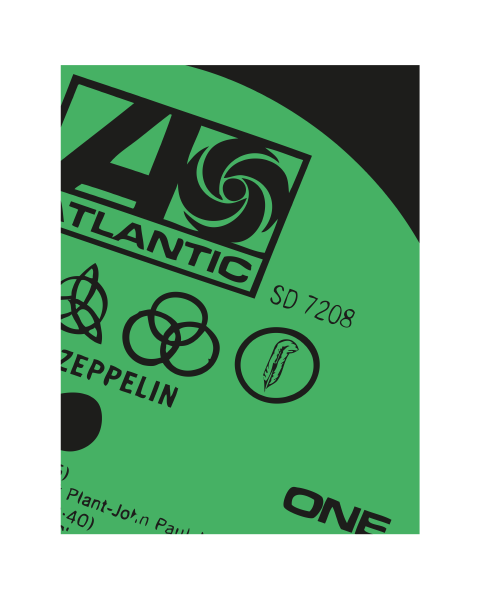 Close Up of our Atlantic Modern Led Zeppelin Vinyl Record Label Artwork