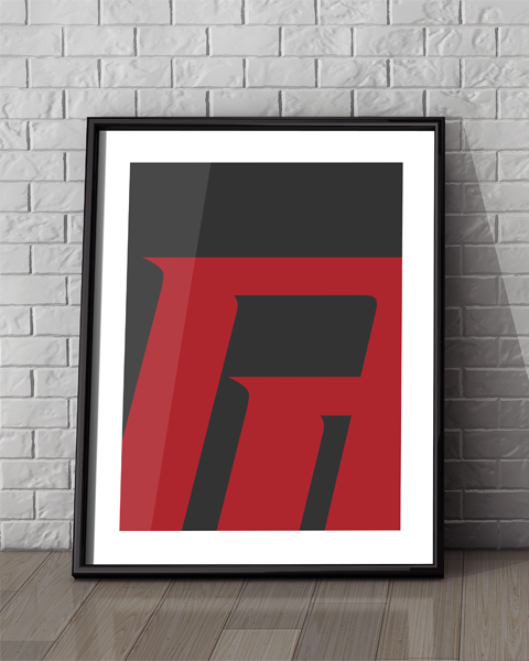 Framed illustration of our Daredevil Abstracted logo artwork design