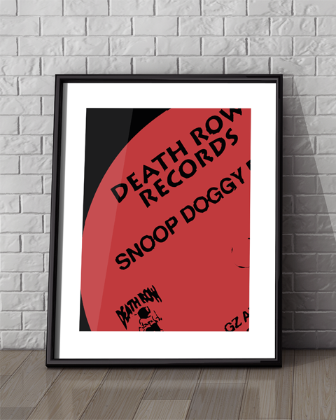 Framed illustration of our Death Row Modern Snoop Doggy Dogg vinyl record label artwork design