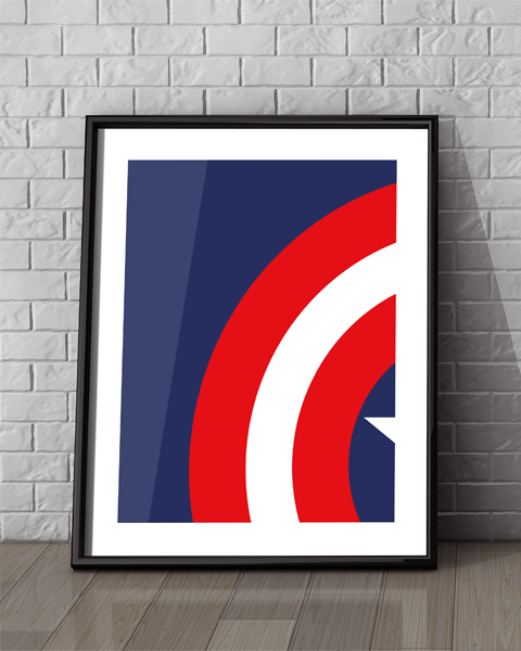 Framed illustration of our Captain America Abstracted artwork design