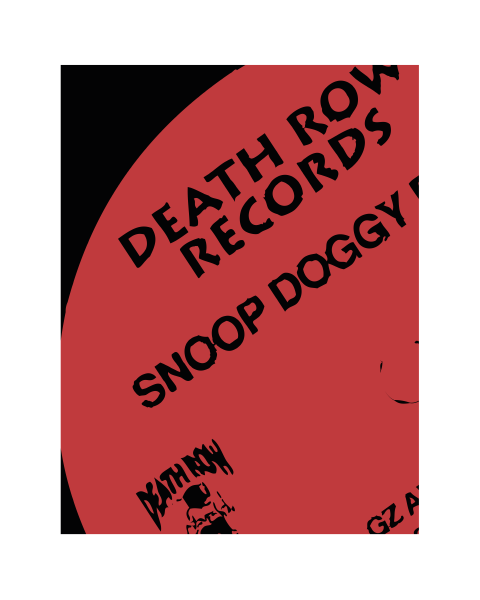Close up of our Death Row Modern Snoop Doggy Dogg vinyl record label artwork design