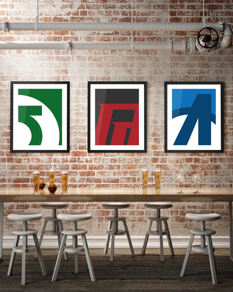 Framed triptych illustration of our Daredevil Abstracted logo artwork design. Also shown are Green Lantern Abstracted and Avengers Abstracted.