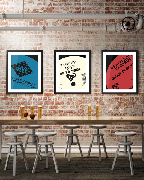 Framed triptych illustration of our Death Row Modern Snoop Doggy Dogg vinyl record label artwork design