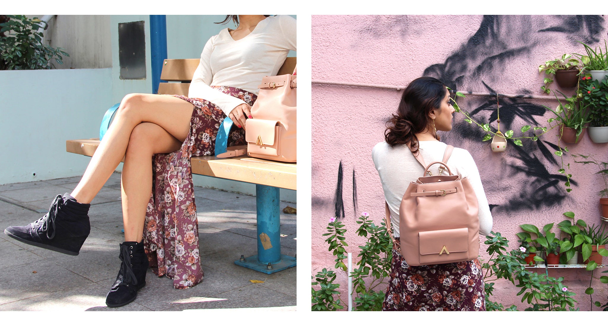 Aanya x ESEMBLĒ Holiday Series Dash Backpack Blush BELLE ÂME FLORAL MAXI SKIRT 02